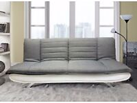 HOT! New SOFA BED 3 Seater Fabric Pillow Top Faux Leather Base Also In BLACK