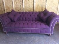 CHESTERFIELD SOFA BUTTONED SEAT COLOUR AUBERGINE FABRIC £490