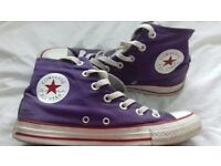Converse allstar hi top double tounge purple and grey size 6