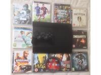 SONY PLAYSTATION SUPERSLIM PS3 CONSOLE 1 PAD 10 GAMES BUNDLE GTA 5 FIFA WWE GHOST RECON HAZE COD