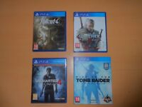 4 Great PS4 Games - Witcher 3 - Fallout 4 - Rise of the Tomb Raider and Uncharted 4. Sale or Swaps.