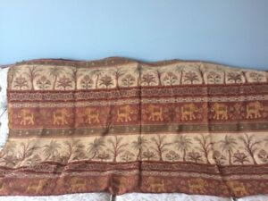 Elephant and palm tree fabric tapestry