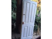 Five white internal doors with handles and hinges