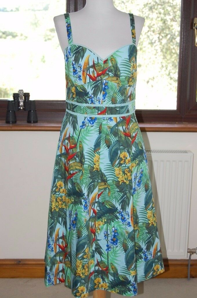 oasis tropical cuba dress size 10 new with defects