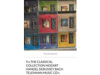SET OF 9 MUSIC CD's THE CLASSICAL COLLECTION INCLUDING MOZART HANDEL DEBUSSEY TELEMANN GC