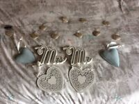 Wedding accessories including Mr and Mrs sign.