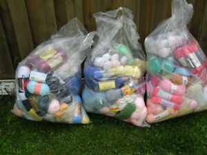 Wool,Acrylic,Polyester Yarn Mix Lot 247 pc in 3 large bags