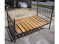 """ANTIQUE ENGLISH METAL DOUBLE 4'-0"""" BEDSTEAD"""