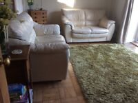 2 cream/beige leather 2 seater sofas
