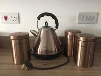 Next Pyramid Kettle & 3 copper storage jars.