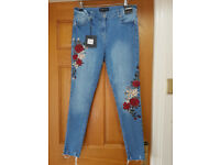 New with tags skinny Ladies Parisian Jeans size 12 - embroidered - £10.00