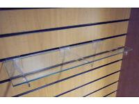 Glass slatwall shelf