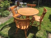 Pine Round Drop Leaf Dining Table with 4 Matching Pine Chairs