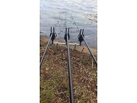 Fox torque 3.5tc carp rods x3 with cloth sleeves
