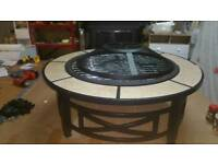 A brand new large garden fire pit .