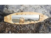 Hand carved surfboard mirror