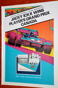 1970 PLAYER'S GRAND PRIX CANADA AD + FORD THUNDERBIRD ON BACK