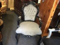 Grey French style chair with arms