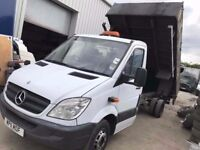 MERCEDES SPRINTER 513 , 2011REG, TIPPER/CAB CHASSIS FOR SALE