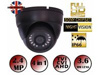 GREY &WHITE NIGHT VISION CCTV DOME CAMERA 1080P 2.4MP SONY HD TVI AHD 4IN1 3.6mm 20m