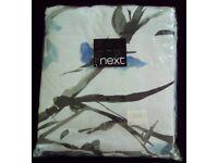 """Double Double Set 200 x 200cm - Reversible - """"NEXT"""" - Brand New - light blue floral/diamond pattern"""