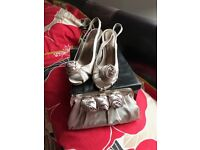 Ladies shoes size 5 and natching bag used once for wedding