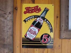 Pepsi-Cola: 6 Bouteilles + Caisse Carton et Affiche En Métal