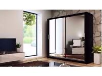 *7-DAYS MONEY BACK GUARANTEE* BERLIN 2 or 3 DOOR SLIDING WARDROBE WITH FULL MIRRORS MANY SIZES COLOR