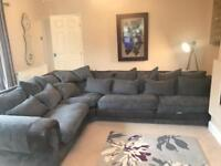 Large corner sofa, chair and pouffe