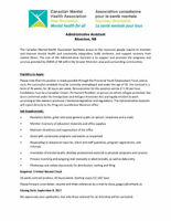 Administrative Assistant CMHA of NB Moncton Office