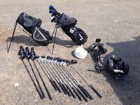 Golf Club Sets X2 with trollies and large bag of balls. St Andrew tour plus in excellent condition !