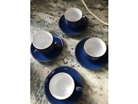 4 x DENBY Imperial Blue espresso cups with saucers