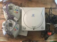 Sega Dreamcast Console and Controllers