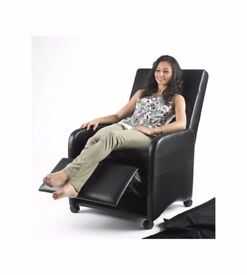 Brand New Faux Leather Folding Recliner Chair Black Or Brown CONVERTS INTO STOOL