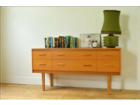 vintage sideboard Avalon light teak danish design mid century tv stand