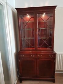 Mahogany Sideboard / Display Cabinet Glass With Lighting