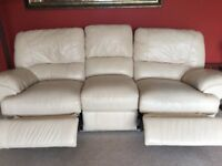 Cream leather electric reclining suite