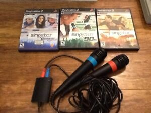 PS2 Singstar games and microphones