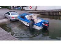 16ft fishing / day boat with 40 hp outboard engine and trailer