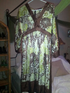 Green and Brown Satin Dress