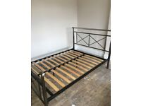 Double silver and chrome bed frame