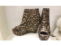 leopard print heels / Shoes / Boots with platform / wedge open toe UK size 4