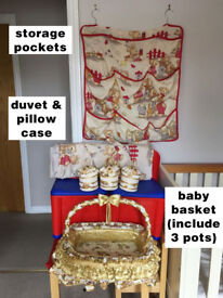 Baby items (basket, posts, wall storage pockets, duvet & pillow case)