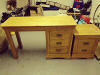 Good Quality Desk with Matching Chest of Drawers