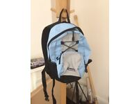 small backpack / small rucksack - light blue grey and black great condition