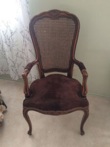 dark brown french provincial with real suede fabric