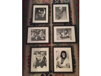 Beautiful black and white framed movie star pictures x6