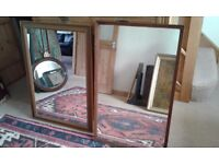 2 X PRETTY MIRRORS WOOD SURROUND LARGE SIZE READY TO HANG OR SIT ON FLOOR ALL SOUND AND SOLID