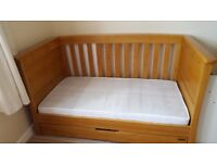Mama's and Papa's solid oak ' Ocean ' cot bed with M&P matress with removable washable cover.
