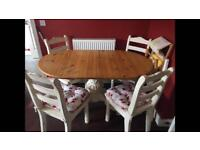 Shabby chic pine table and 4 chairs